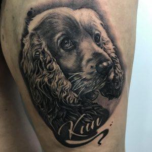 tattoo perro black and grey