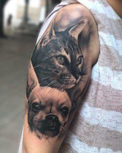 Tatuaje perro y gato