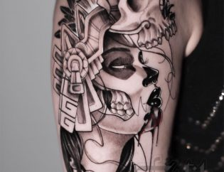 Tatuaje catrina en blanco y negro.