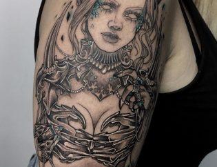 Tatuaje demonia neotradicional blackwork