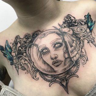 Tatuaje rostro mujer estilo neotradicional.