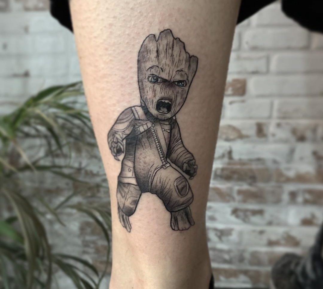 Tatuaje Guardianes de la galaxia en blanco y negro.