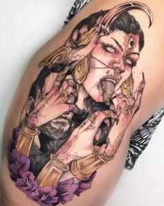 Tatuaje para mujer a color diseño original.