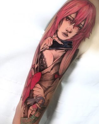 Tatuaje chica a color neotradicional.
