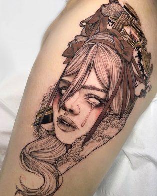 Tatuaje rostro de mujer neotradicional.